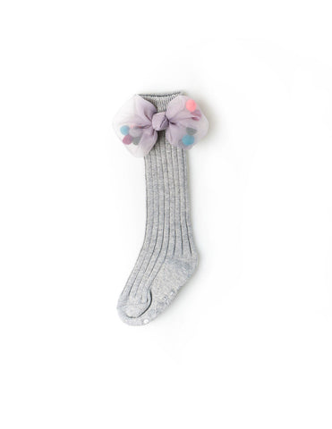 Mesh Pom Pom Bow Knee Socks Grey