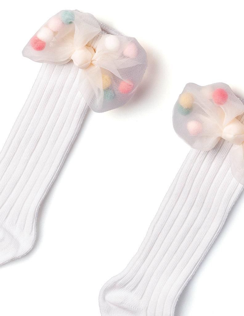 Mesh Pom Pom Bow Knee Socks White