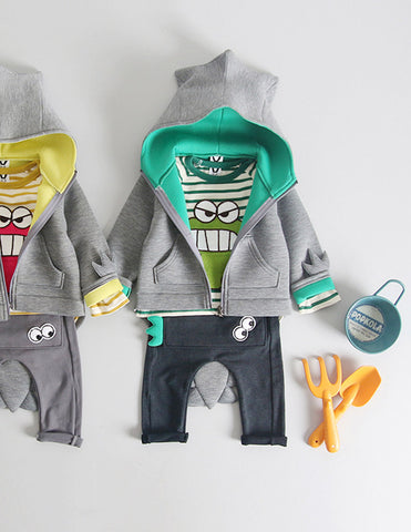 Dinosaur Hoodie and Trousers Set Green