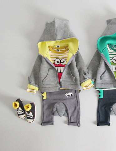 Dinosaur Hoodie and Trousers Set Yellow