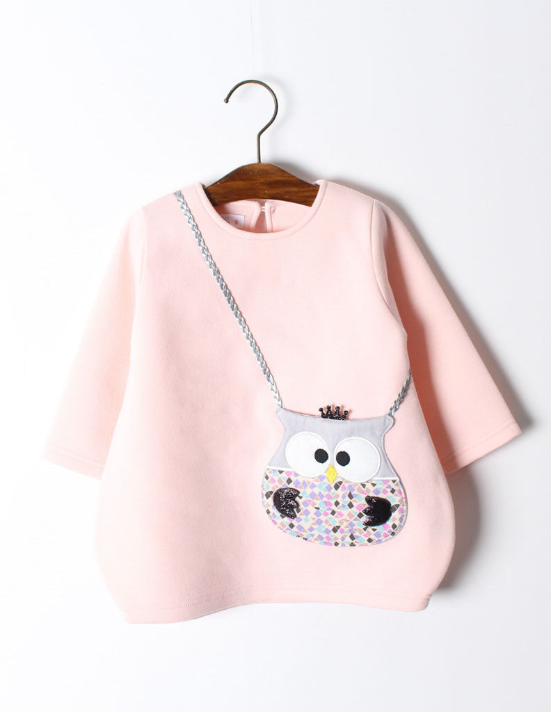 Owl Pocket Tunic Pink