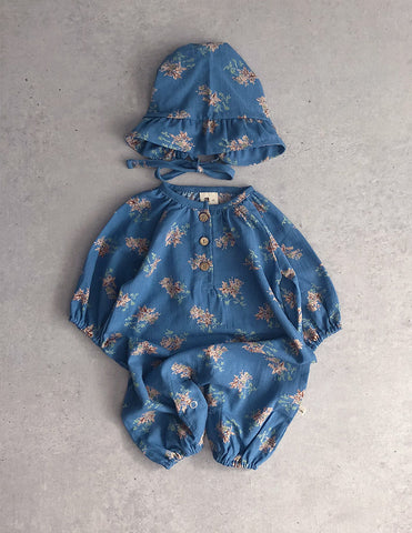 Pin Suit Romper and Bonnet Set Blue