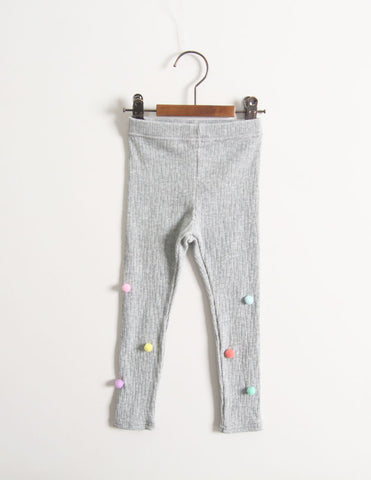 Pom-Pom Corded Leggings Grey