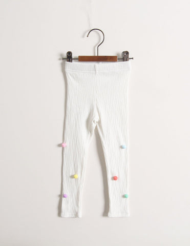 Pom-Pom Corded Leggings White