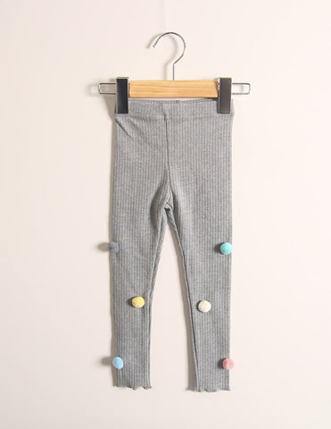 Pom-Pom Corded Winter Leggings Grey
