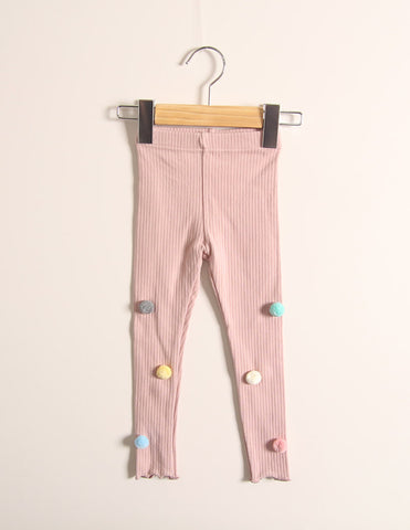 Pom-Pom Corded Winter Leggings Pink