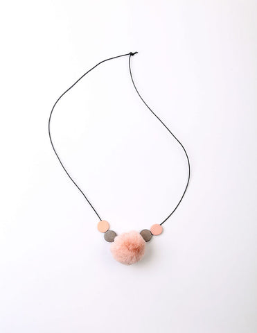 Pom-Pom Disk Necklace