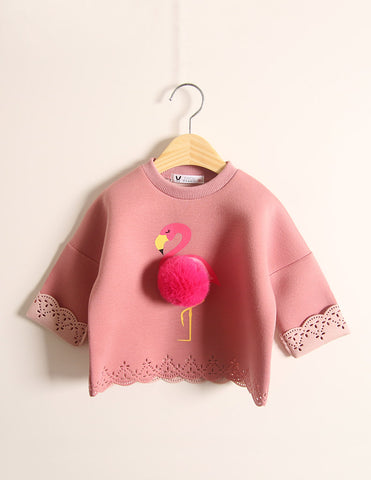 Pom-Pom Flamingo Jumper Winter Fuchsia