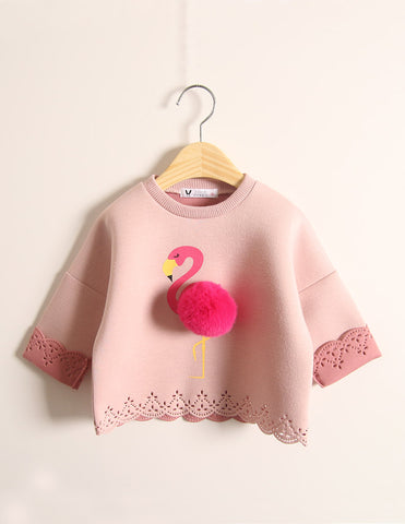 Pom-Pom Flamingo Jumper Winter Pink