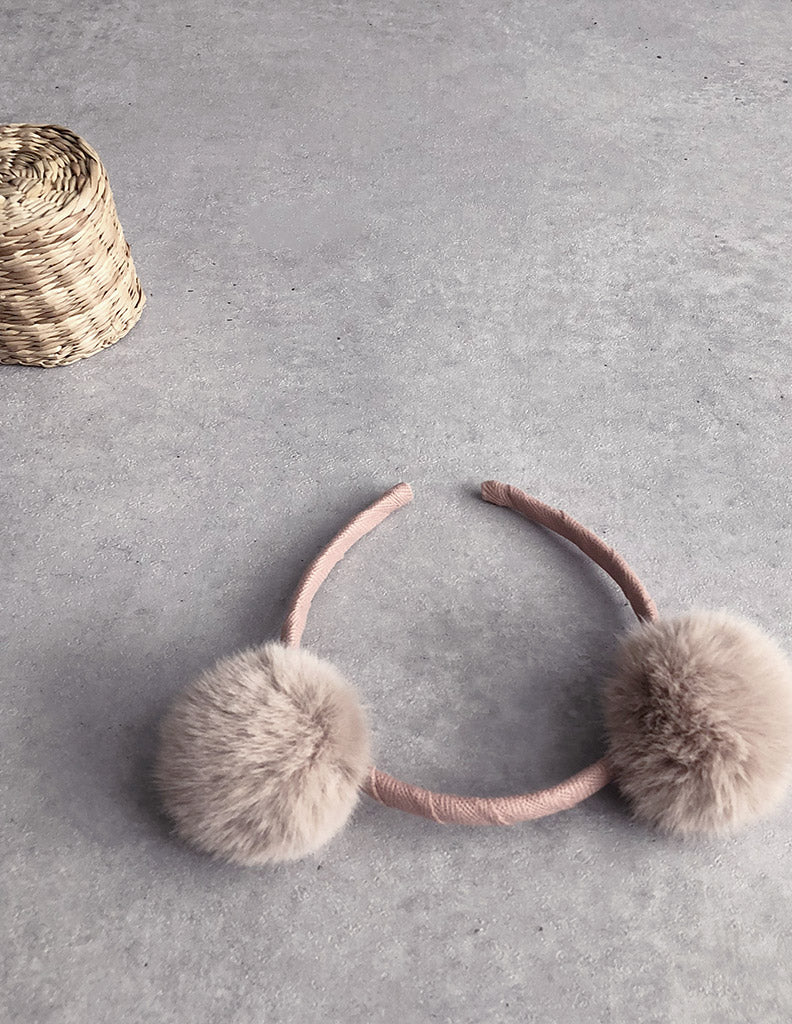Pom-Pom Hairband Dusty Pink