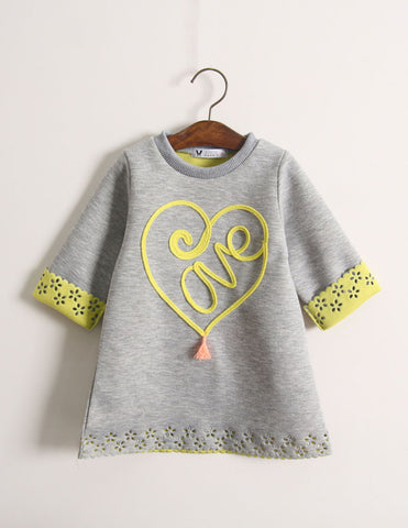 Punched Heart Tunic Grey