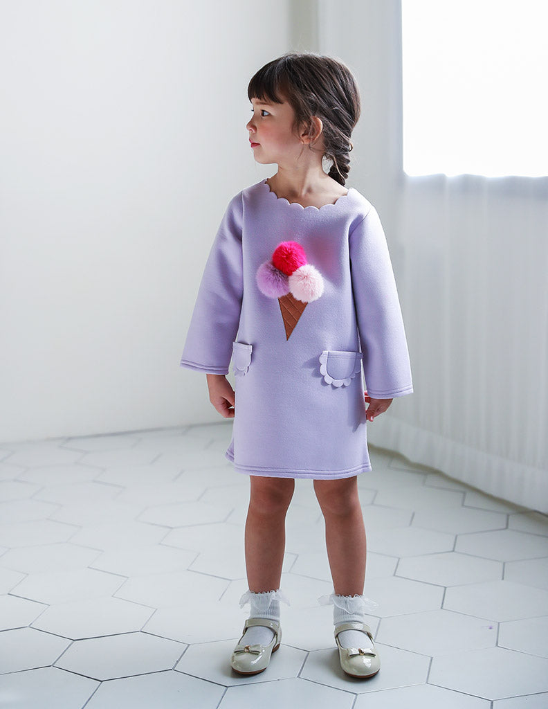 Pom-Pom Ice Cream Dress Lilac