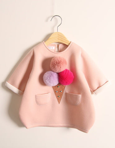 Pom-Pom Ice Cream Winter Tunic Pink