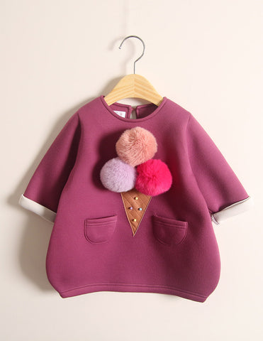 Pom-Pom Ice Cream Winter Tunic Plum