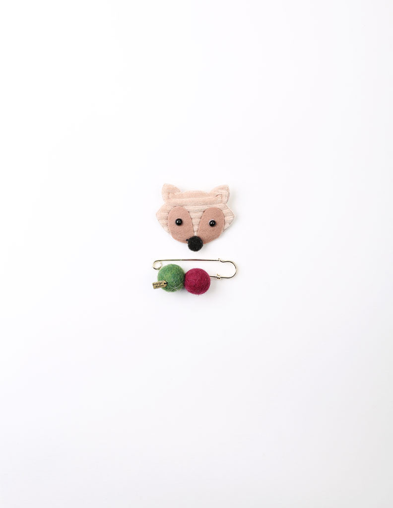 Racoon Brooch and Pin Beige