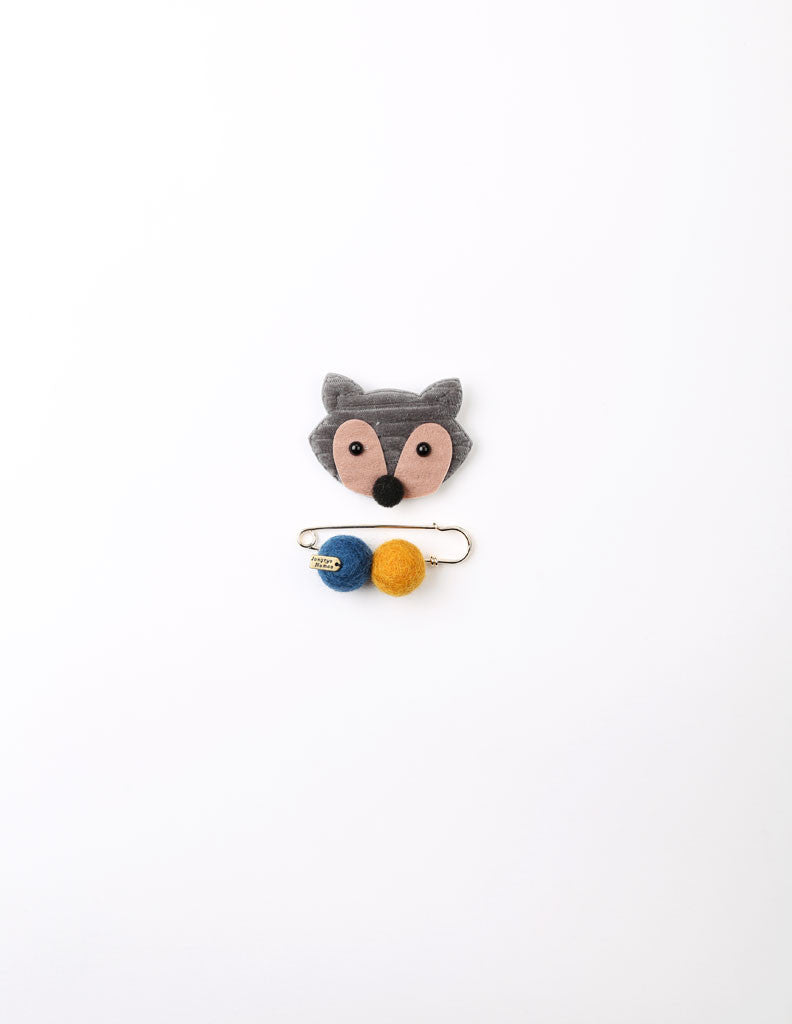 Racoon Brooch and Pin Grey