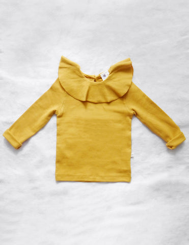 Ruffle Collar Blouse Summer Mustard