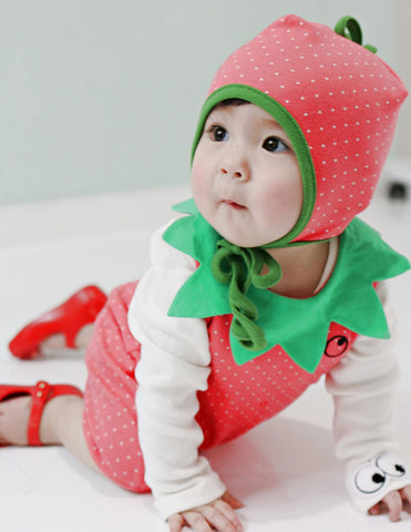 Strawberry Romper and Bonnet Set Pink