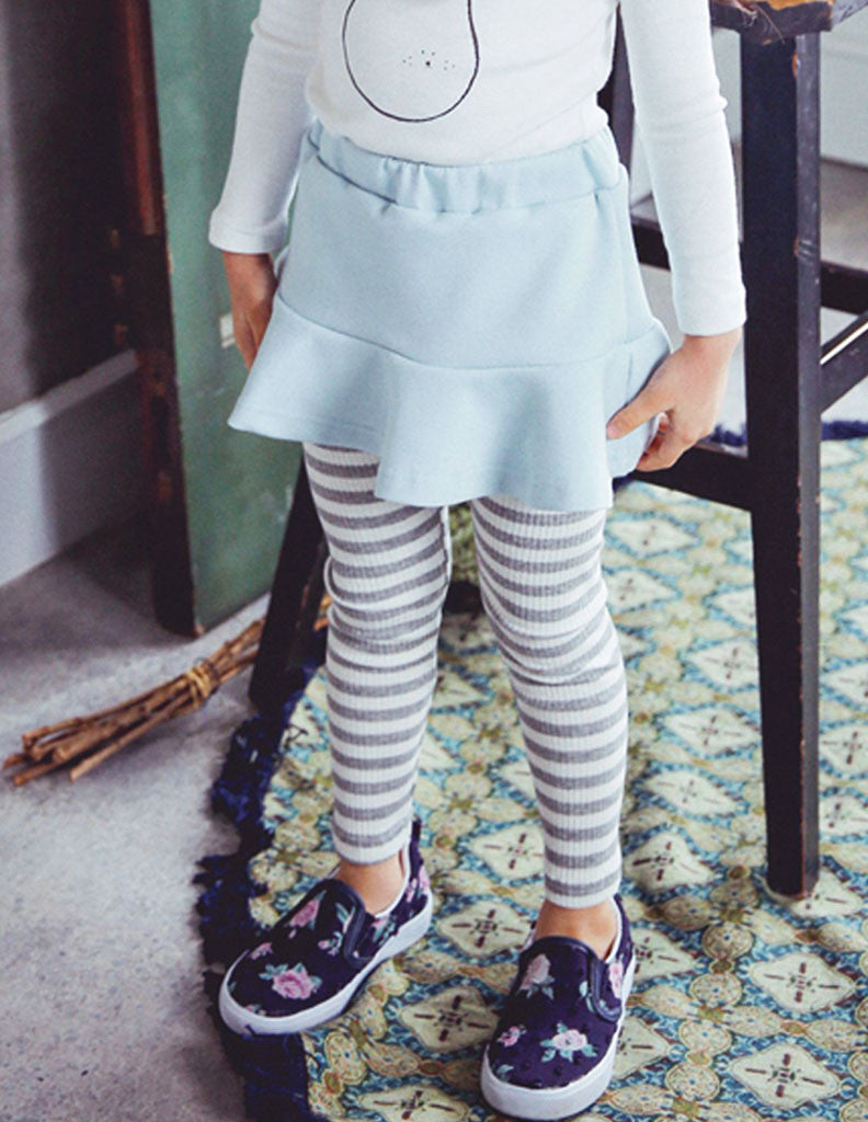 Striped Skirt Leggings Blue