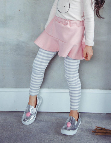 Striped Skirt Leggings Pink