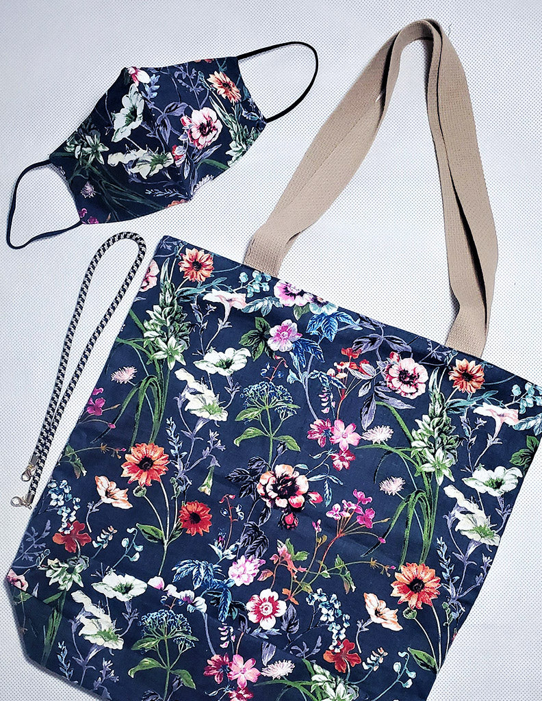 Floral Cotton Face Mask And Shoulder Bag Set Blue