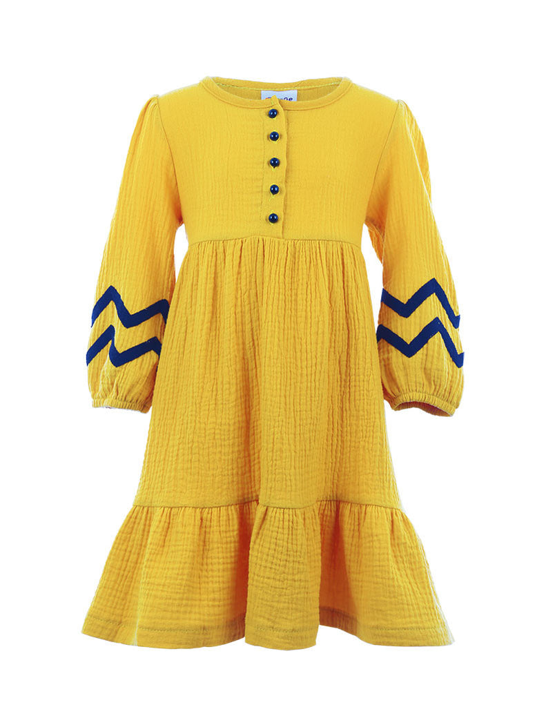 Zig Zag Peasant Dress Yellow