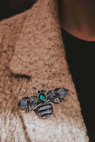 Blue Crystal Bug Hair Clip and Brooch-Tegen Accessories