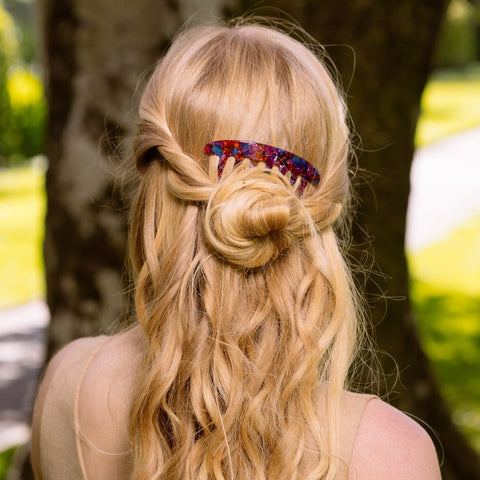 Twisted Bun Summer Hairstyle using Tegen Accessories Curved French Pleat Comb