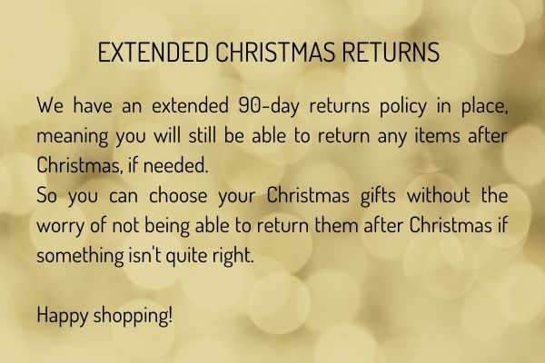 EXTENDED RETURNS OVER THE FESTIVE PERIOD