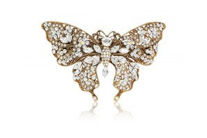 Swarovski Crystal Large Butterfly Barrette