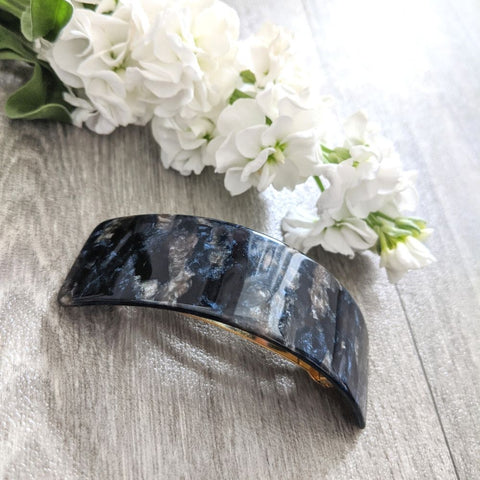 Wide Arched Barrette-Navy Fossil-Tegen Accessories