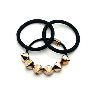 2x Black Spiked Stud Hair Elastics-Discontinued-Gold-Tegen Accessories