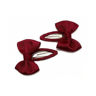 2x Bow Snap Clips-Discontinued-Burgundy-Tegen Accessories