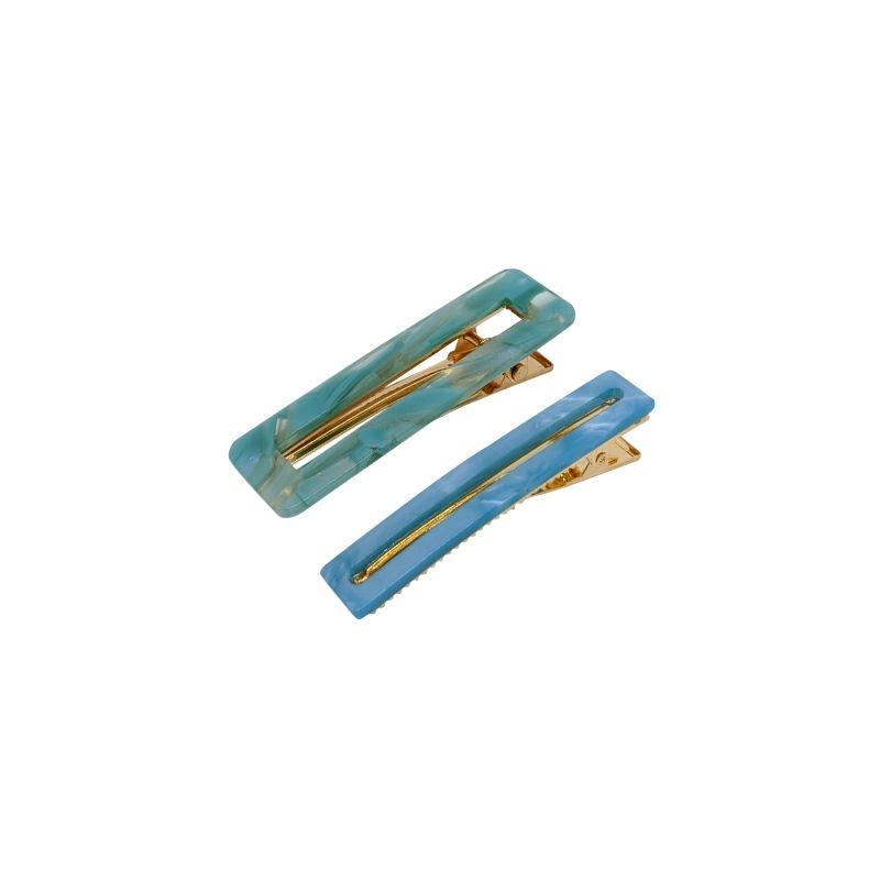 2x Mixed Rectangle Resin Beak Clips-Clips & slides-Big Metal-Turquoise-Tegen Accessories