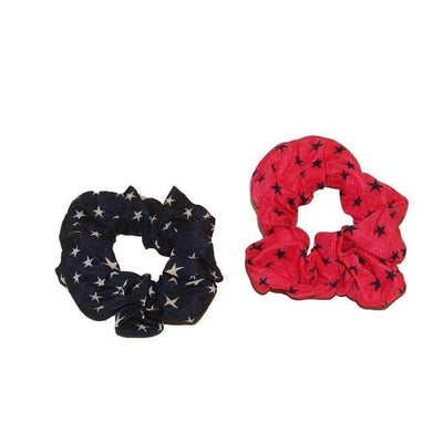 2x Star Scrunchies-Discontinued-Navy/Coral-Tegen Accessories