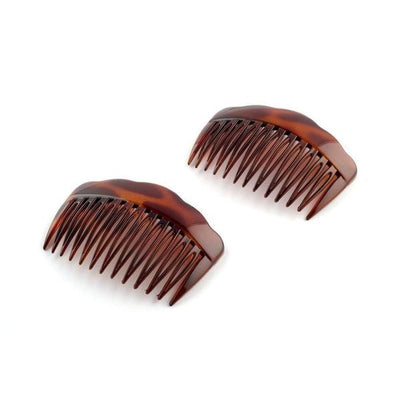 2x Waved Edge Sidecombs-Hair combs-Essentials-Tortoiseshell-Tegen Accessories