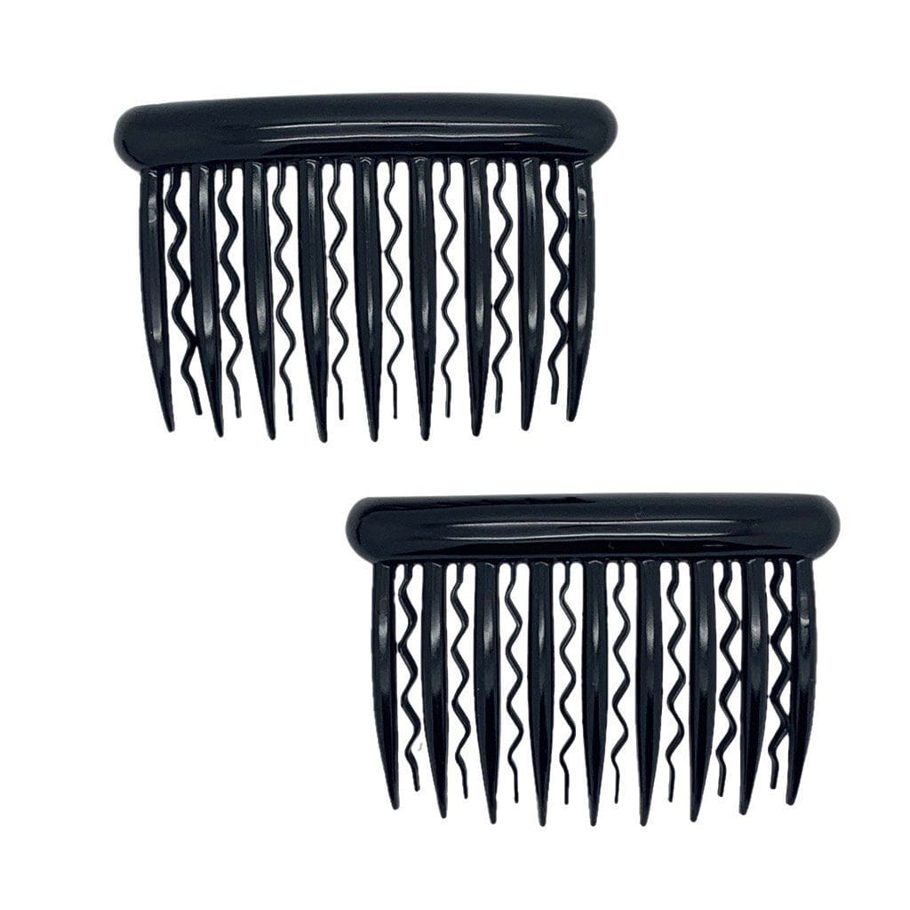 2x Zigzag Tooth Side Combs-Hair combs-Essentials-Black-Tegen Accessories Black