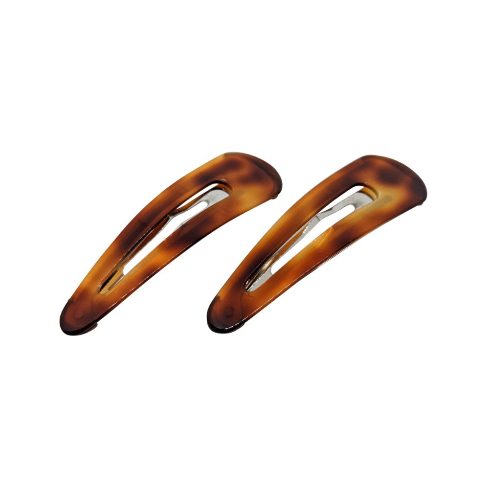 2x 7cm Snap Clips-Snap clips-Ooh La La!-Tortoiseshell-Tegen Accessories Brown