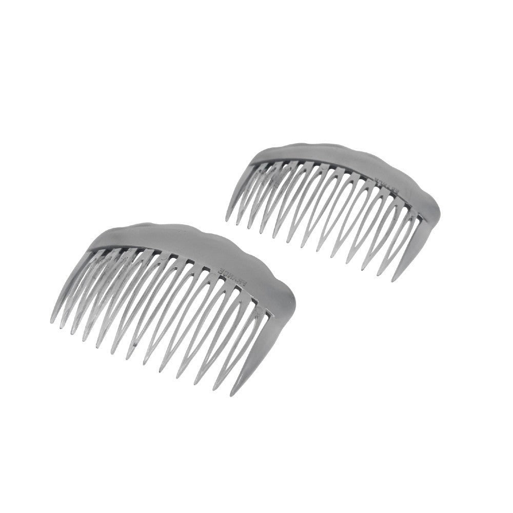 2x Waved Edge Side Combs-Hair combs-Essentials-Tortoiseshell-Brown-Tegen Accessories Brown