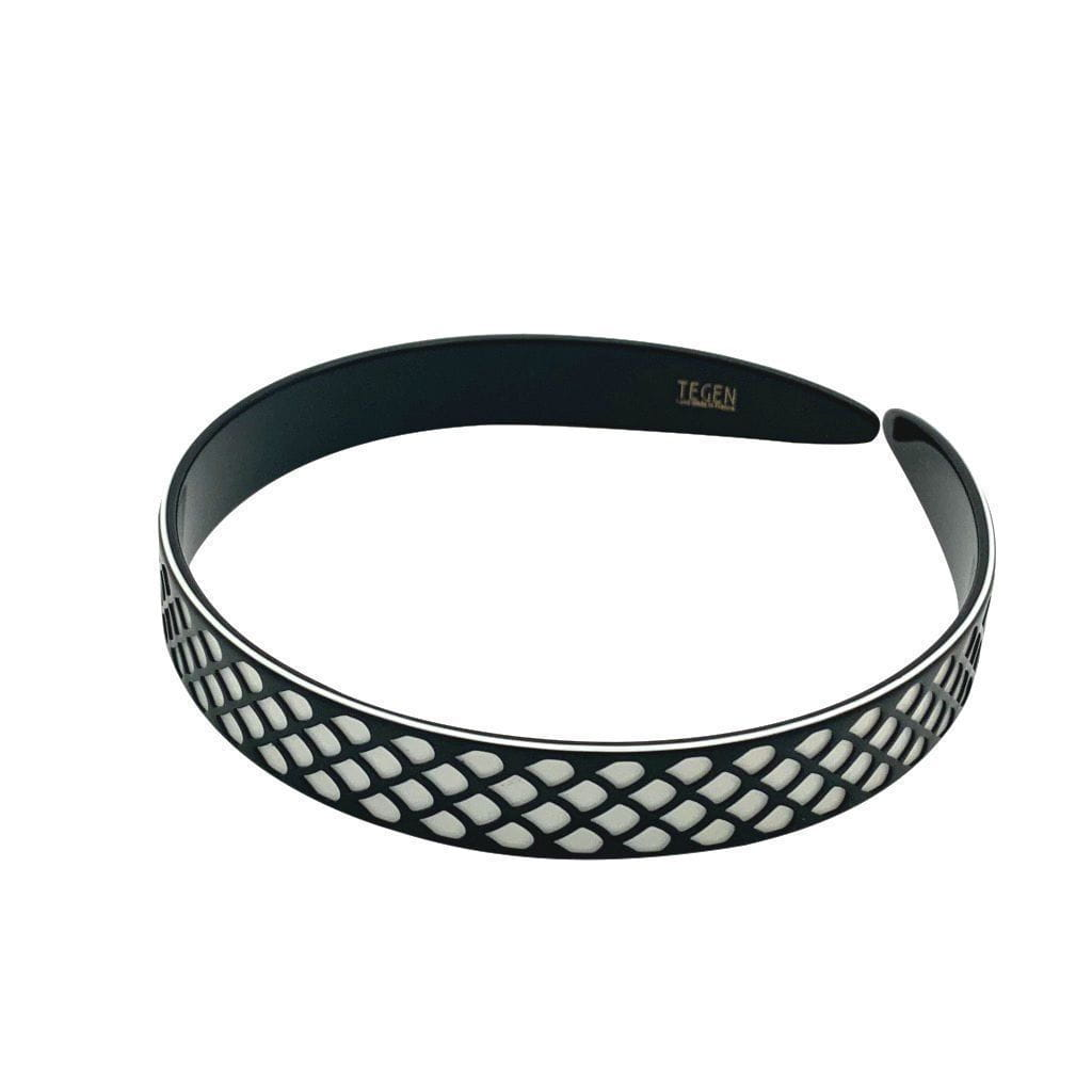 3D Patterned Monochrome Lace Headband-Headbands-Ooh La La!-Black-Tegen Accessories