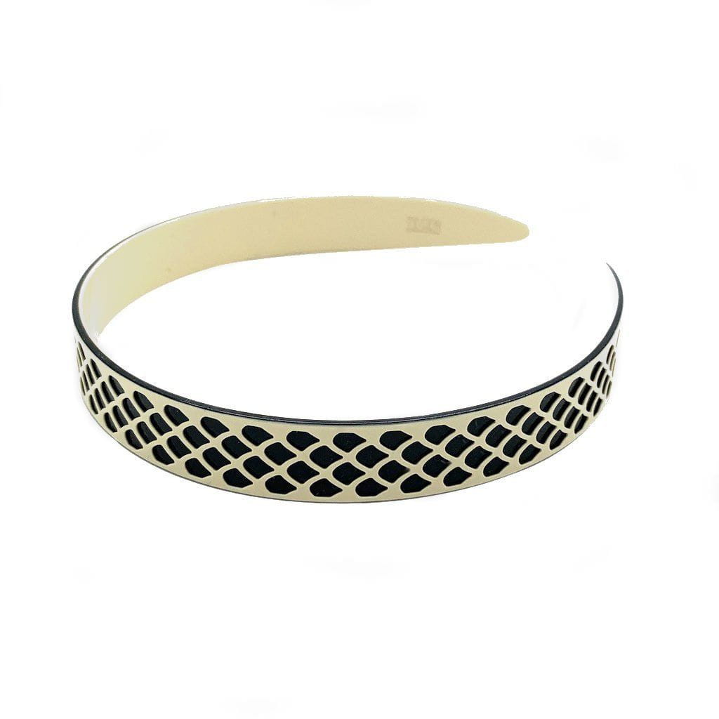 3D Patterned Monochrome Lace Headband-Headbands-Ooh La La!-Ivory-Tegen Accessories