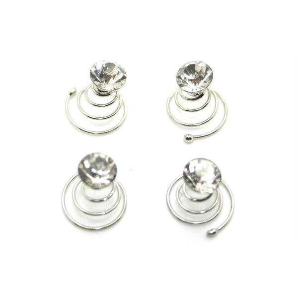 4x Crystal Hair Spirals-Hair coils-Bridal-Clear Crystal-Tegen Accessories