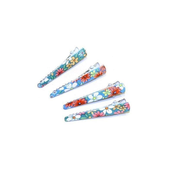 4x Mini Floral Clips-Clips & slides-Children-Green/Black-Tegen Accessories