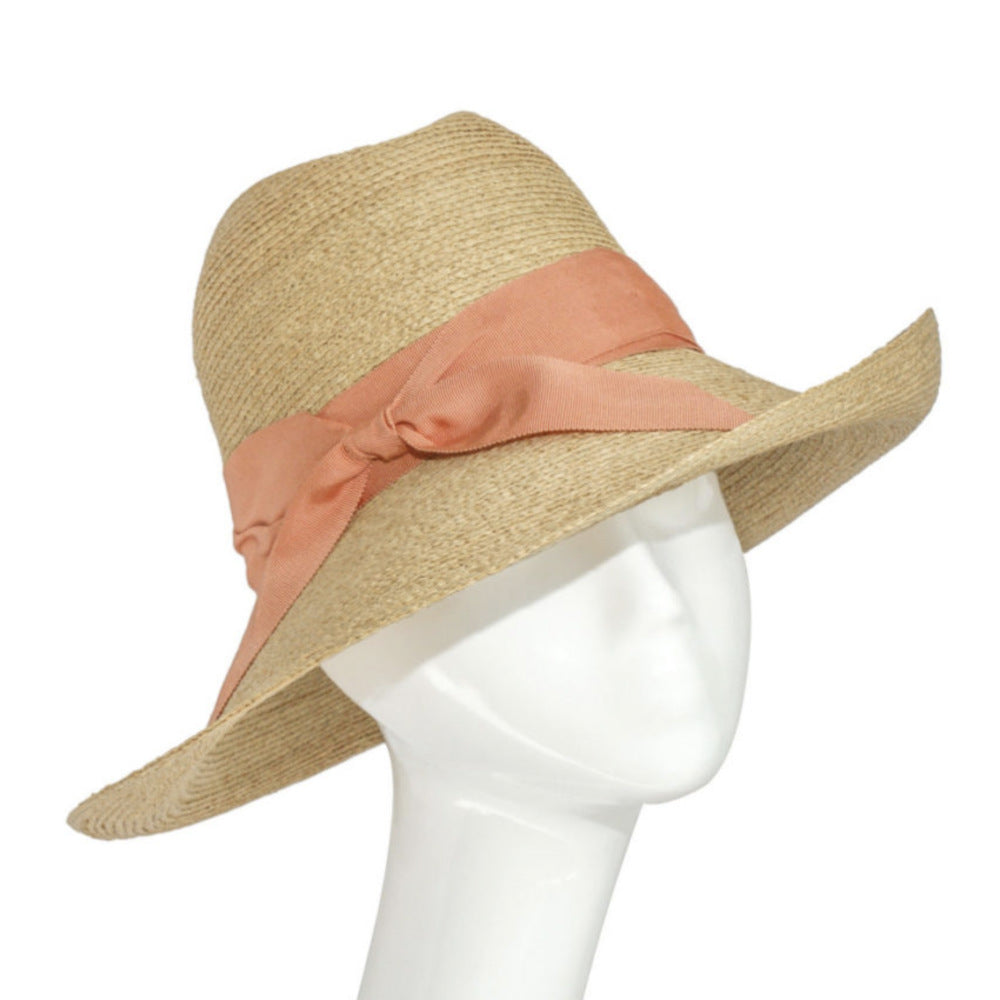 Raffia 70's Style Fedora-Hats-Suzanne Bettley-Peach-Tegen Accessories Peach Orange