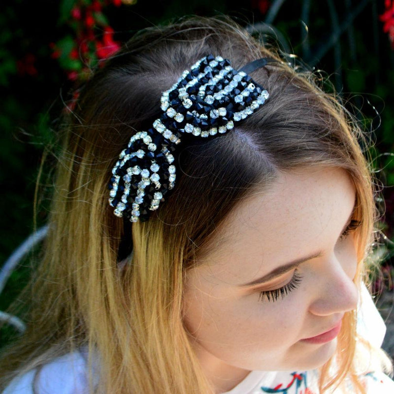 Beaded Bow Headband-Headbands-Rosie Fox-Black/Silver-Tegen Accessories Black Clear