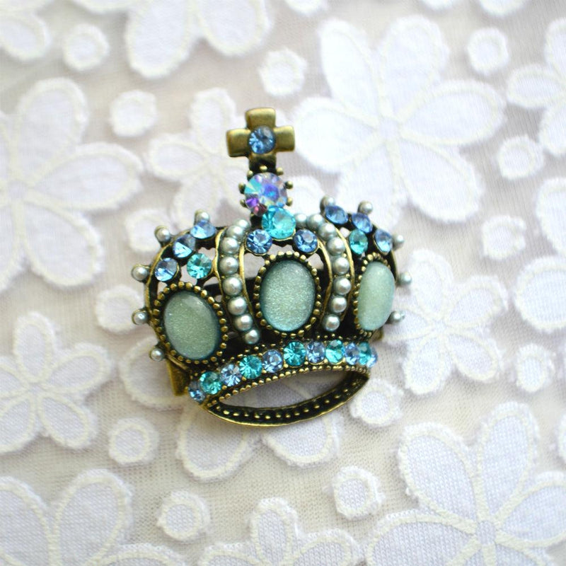 Blue Crown Brooch-Brooches-Rosie Fox-Blue-Tegen Accessories