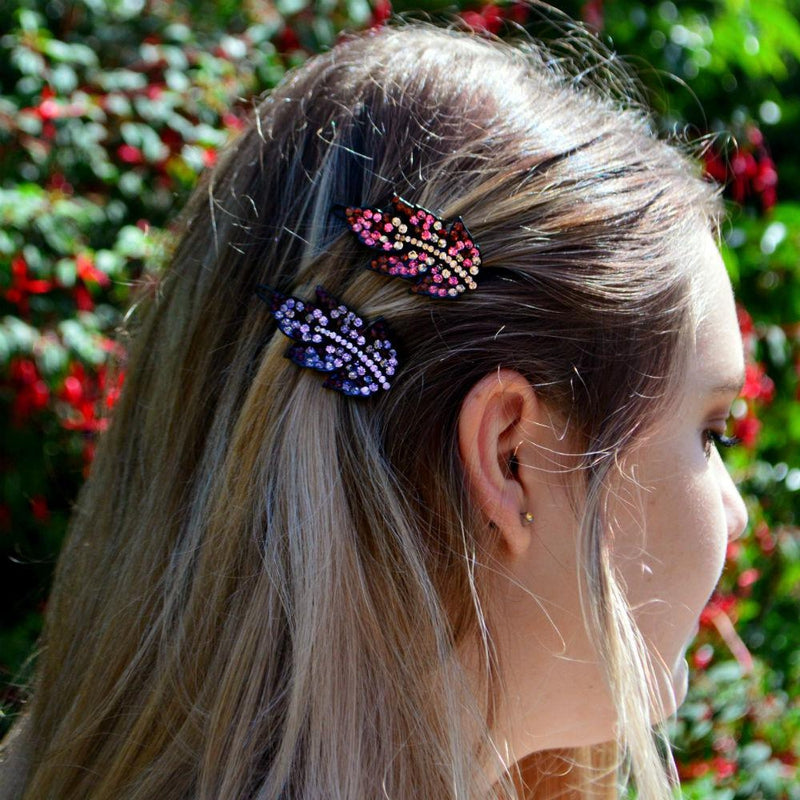 Crystal Leaf Hair Clip-Clips & slides-Rosie Fox-Fuchsia-Tegen Accessories