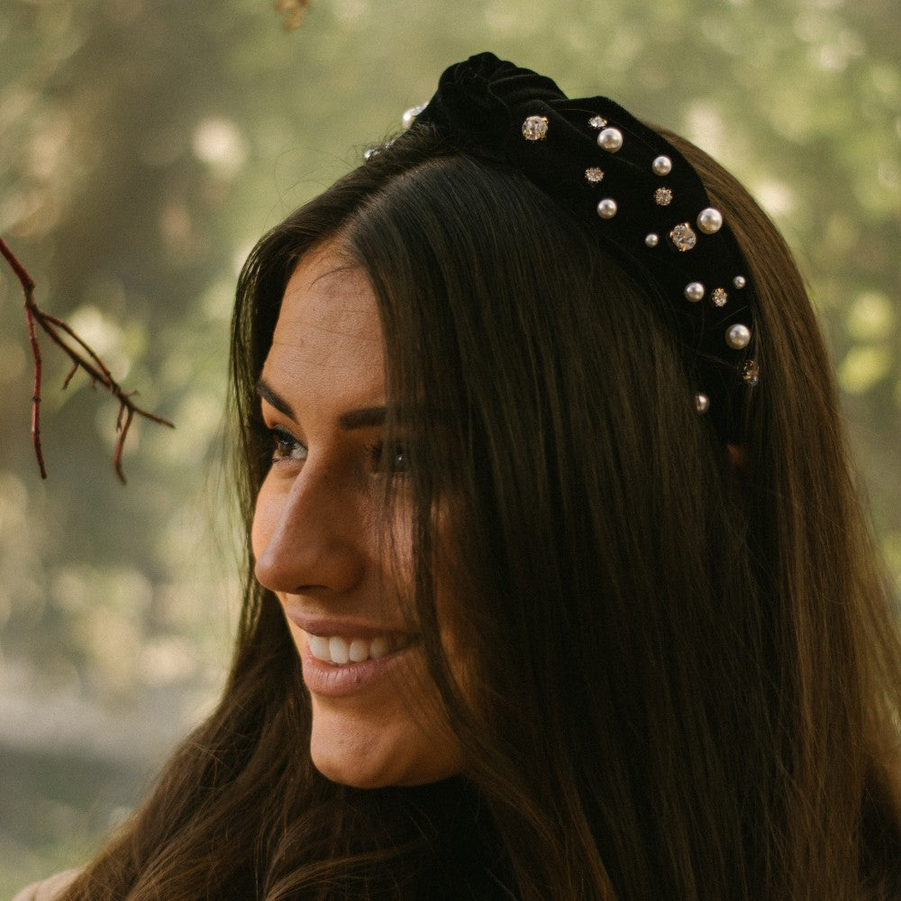 Swarovski Crystal & Pearl Velvet Knot Headband-Swarovski Crystal-Headbands-Tegen Accessories-Black Pearl