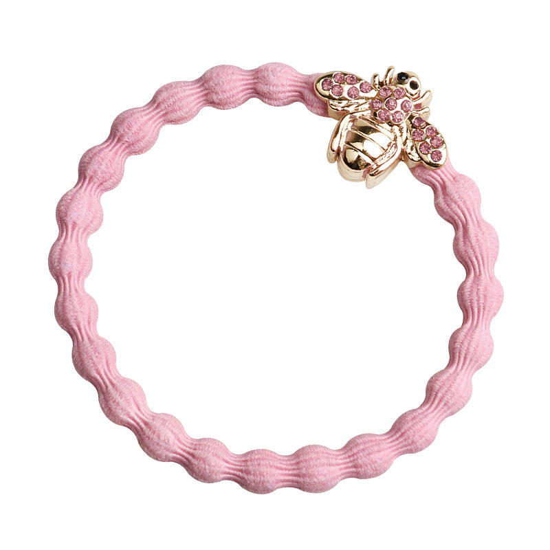 Crystal Bee Charm Hairband-Elastics-by Eloise-Pink-Tegen Accessories Pink