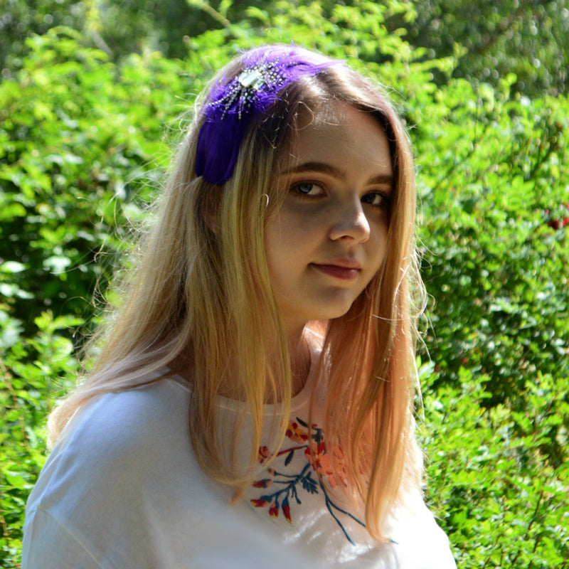 Purple Feather Gem Headband-Headbands-Rosie Fox-Purple-Tegen Accessories